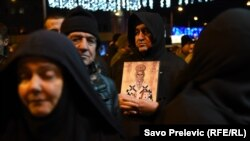 Протесты верующих Сербской православной церкви в Подгорице против нового закона, декабрь 2019 года
