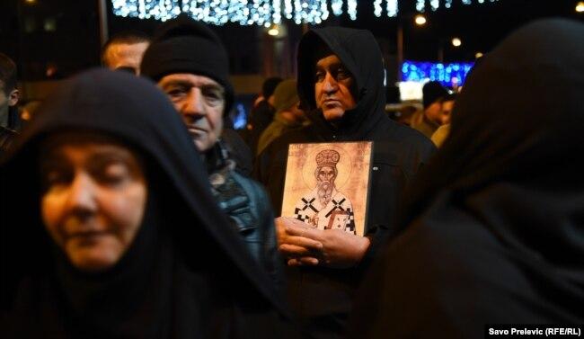 Протести вірних Сербської православної церкви в Подґориці проти нового закону