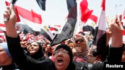 Protesters against Egyptian President Muhammad Morsi during a protest on Tahrir Square in Cairo on June 30.