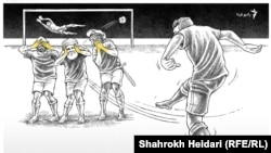 "Shojaei 1 - Islamic Republic 0"", cartoon by Shahrokh Heidari for Radio Farda, Dec 2016."