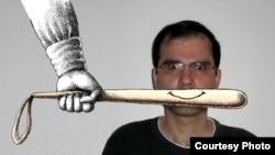 Иранский карикатурист Мана Неестани на одной из своих работ.