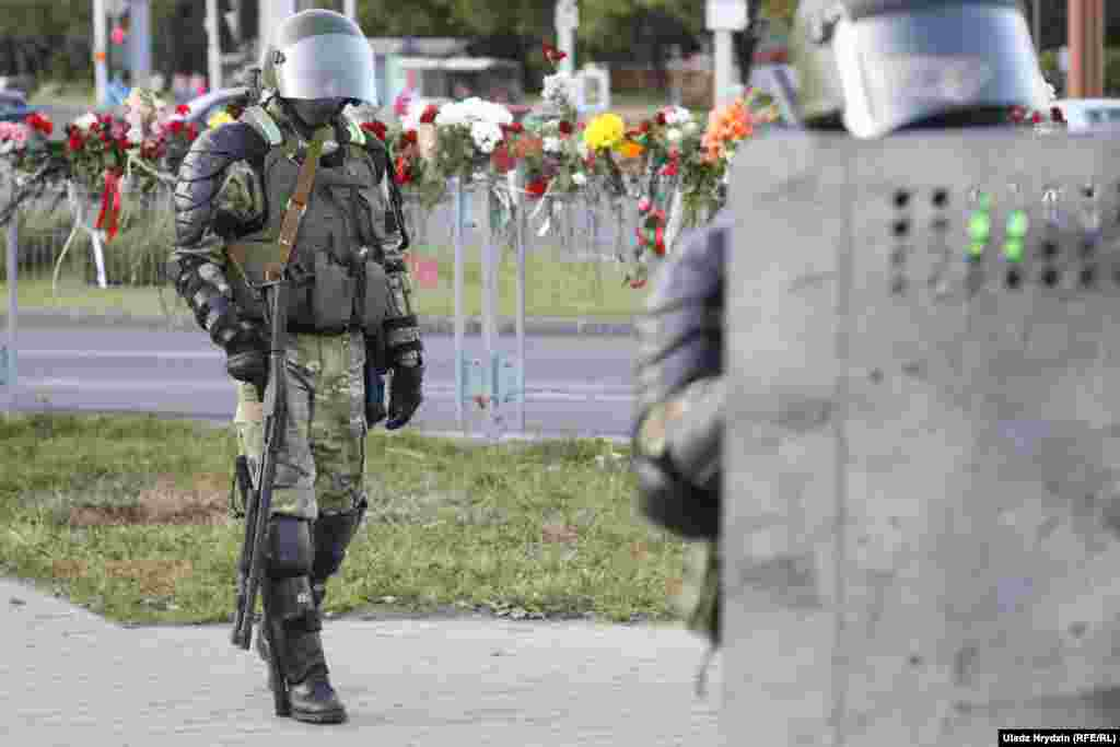 Belarusian security forces guard a street in Minsk on August 11.