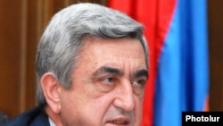 Armenia -- President Serzh Sarkisian addresses the parliament's Audit Chamber on January 22, 2010.
