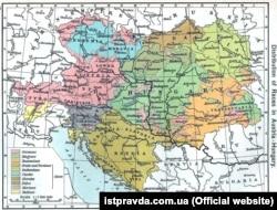 Етнічна мапа Австро-Угорської монархії з американського атласу 1911 року. Українці позначені як рутени (Ruthenians), світло-зелена частина карти