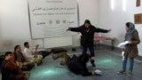 Afghan actors rehearsing for a play (file photo)