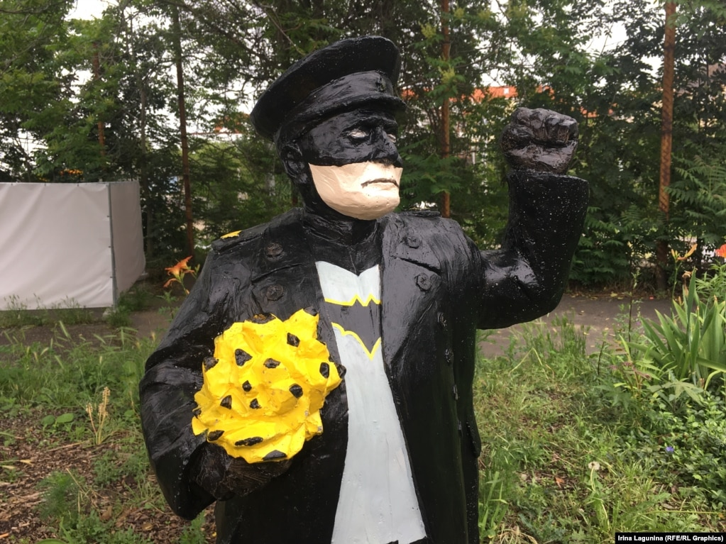 "The ""little Konev"" statues -- such as this one painted to resemble Batman -- are placed along the street in Prague named after Marshal Konev: Konevova."