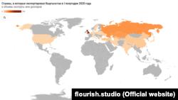 2020-жылдын алгачкы жарымында Кыргызстан товарын чыгарган өлкөлөр. Карта.