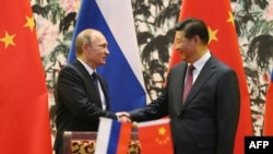 Russian President Vladimir Putin (left) and his Chinese counterpart Xi Jinping shake hands during a signing ceremony in Beijing for agreements between the two countries on energy supplies.