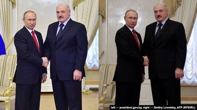 Зьлева Аляксандар Лукашэнка на фота з president.gov.by, справа на фота Дзьмітрыя Лавецкага для AFP
