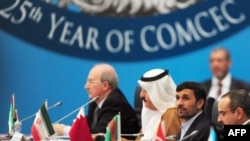Iranian President Mahmud Ahmadinejad (second from right) at a meeting of the Organization of the Islamic Conference in Istanbul