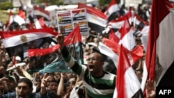 Pro-democracy activists gather on Tahrir Square in Cairo in April