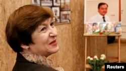 Natalia Magnitskaya, the mother of lawyer Sergei Magnitsky, attends an evening hosted by Russia's opposition to remember her son in Moscow earlier this month.
