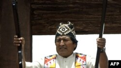 Bolivian President Evo Morales taking part in an indigenous ritual in Bolivia in January.