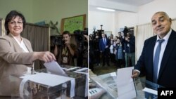 Socialist Party leader Kornelia Ninova (left) and Boyko Borisov of the GERB party cast their votes, (combo photo)