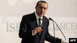 Թուրքիայի նախագահ Ռեջեփ Էրդողանը ելույթ է ունենում Իսլամական համագործակցության կազմակերպության շրջանակում Ստամբուլում անցկացվող հանդիպմանը, 23-ը նոյեմբերի, 2016թ․