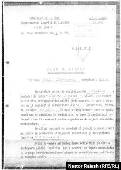 Prima pagină a Planului de măsuri elaborat de Securitate împotriva lui Noël Bernard.