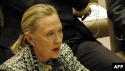 U.S. Secretary of state Hillary Clinton at a UN Security Council meeting on the Middle East earlier this month.