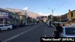 Tajik president' picture in a board in Gharm district