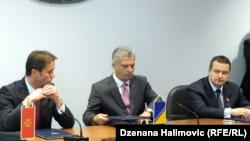 Raško Konjević, Fahrudin Radnočić i Ivica Dačić na sastanku u Sarajevu, septembar 2013.