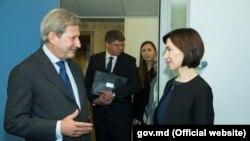 Comisarul european Johannes Hahn la întîlnirea cu premierul Maia Sandu la Bruxelles, 3 iulie 2019