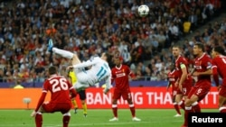«Ռեալի» հարձակվող Գարեթ Բեյլի ֆանտաստիկ գոլը «Լիվերպուլի» դարպասը, Կիև, «Օլիմպիական» մարզադաշտ, 26 մայիսի, 2018թ.