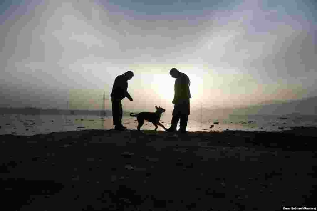 Afghan men play with a dog in the early morning in Kabul. (Reuters/Omar Sobhani)