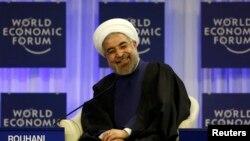Hassan Rohani gjatë fjalimit të tij në Davos të Zvicrës