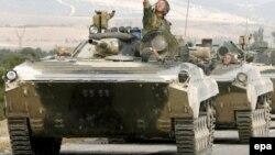 Ռուսական զորքերը Վրաստանի Գորի քաղաքի մերձակայքում, օգոստոս, 2008թ.