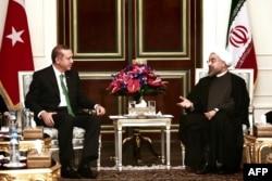Iran -- İran prezidenti Hassan Rohani Türkiyənin baş naziri Recep Tayyip Erdoganı (solda) qəbul edir, Tahran, 29 yanvar, 2014