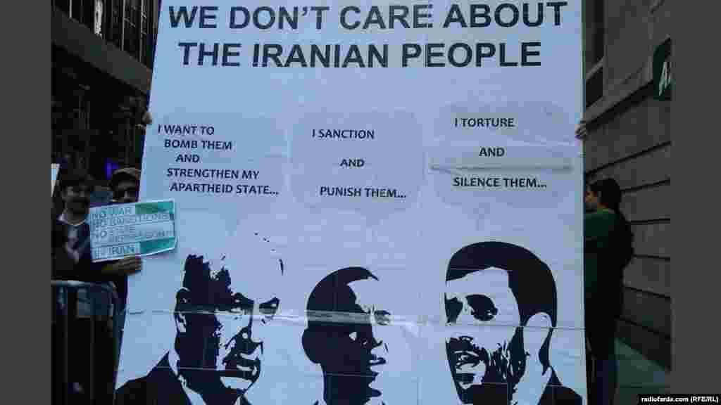 تظاهرکنندگان در نیویورک پوستری ضد جنگ را حاوی تصاویر بنیامین نتانیاهو، نخست وزیر اسرائیل، باراک اوباما،رئیس جمهور آمریکا و محمود احمدینژاد، رئیس جمهور ایران، در دست گرفتهاند. بر روی این پوستر نوشته شده است «ما به مردم ایران اهمیت نمیدهیم»- ۴ مهرماه ۱۳۹۱