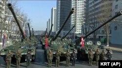 Солтүстік Кореядағы әскери шеру. Пхеньян. 8 ақпан 2018 жыл.