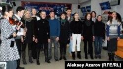 DTK театры актерлері репетиция жасап тұр. Алматы, 17 ақпан 2014 жыл.