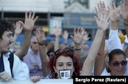 Учасники акцій виступають за діалог, Мадрид, 7 жовтня 2017 року