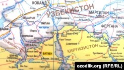 Central Asia - Map of the Uzbek exclave of Sokh in Kyrgyzstan