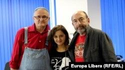 Vasile Botnaru, Veronica Ștefăneț și Mihail Alperin, în studioul Europei Libere la Chișinău