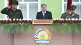 TAJIKISTAN -- Tajik President Emomali Rahmon and high-ranking military officials attend a parade near the border with Afghanistan in the town of Khorugh, September 30, 2021
