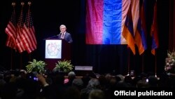 U.S. - Armenian President Serzh Sarkisian addresses leaders and members of the Armenian-American community in Boston, 30Mar2016.