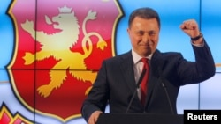 VMRO-DPMNE leader Nikola Gruevski addresses the media in Skopje following last month's elections.