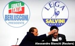 Сильвіо Берлусконі з Маттео Сальвіні, Рим, Італія, 1 березня 2018 року