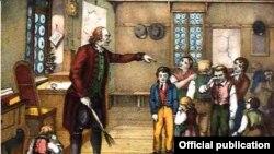Наказание в школе. Литография, 1835