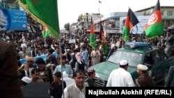 Thousands of Afghans demonstrated in the southeastern city of Khost to demand ceasefire from the warring sides on May 31.