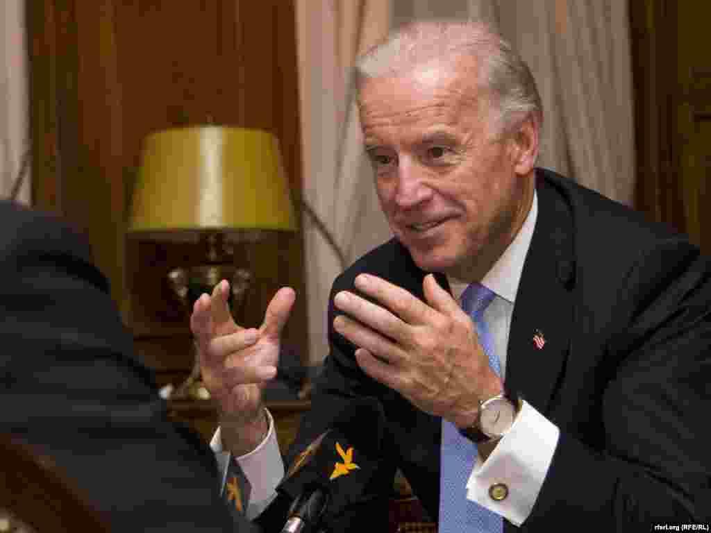 Joe Biden sits down with RFE in Prague in 2009.