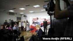 Selia e Partisë Përparimtare, gjatë shpalljes së rezultateve, Beograd, 6 maj, 2012