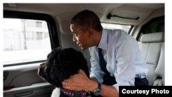 Президент США Барак Обама со своей собакой по кличке Бо.