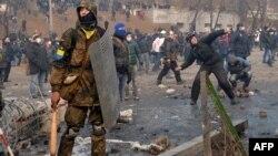 Демонстранттардың полициямен қақтығысы. Киев, 20 қаңтар 2014 жыл.