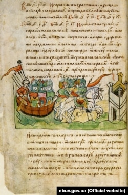 На фото: 14-й лист Радзивіллівського літопису (список XV століття), що змальовує похід Віщого Олега на Царгород