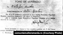 Comuniștii și-au pregătit din vreme de lovitura de stat: jurământul de credință față de noua putere avea tipărită pe el data de 31 decembrie 1947. Trebuia depus așadar de orice angajat public a doua zi după abdicarea regelui Mihai I. Sursa: comunismulinromania.ro (MNIR)