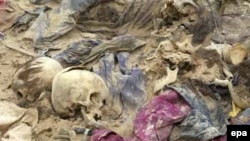 Remains recovered from a mass grave in Al-Samawa, Iraq
