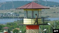 A guard walks on a watchtower at a Georgian prison (file photo)