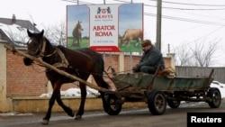 Запряженная лошадью повозка в Румынии